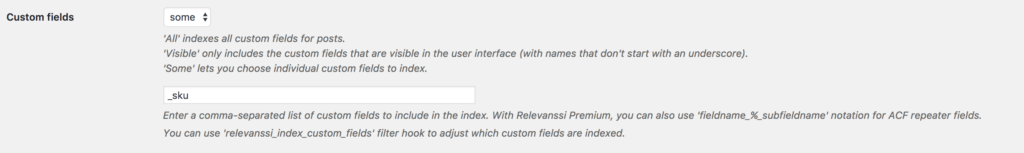 Relevanssi custom fields setting